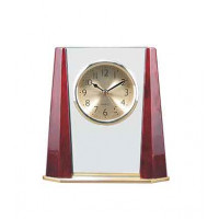 """Rosewood Piano Finish Glass Clock with Bevel Columns (6 3/4"""" x 7 1/8"""")"""