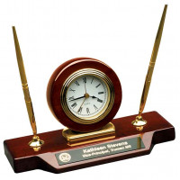 "Rosewood Piano Finish Desk Clock on Base with 2 Pens (9"" x 4 3/4"")"
