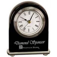 "Black Piano Finish Arch Desk Clock (4"" x 5"")"