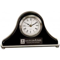 "Black Piano Finish Mantel Desk Clock (7 1/2"" x 4 1/2"")"