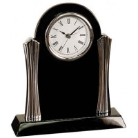 "Black Piano Finish Desk Clock with Silver Metal Columns (8 1/4"" x 7 1/2"")"