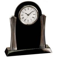 "Black Piano Finish Desk Clock with Silver Metal Columns (8 1/4"" x 7 1/2"")"
