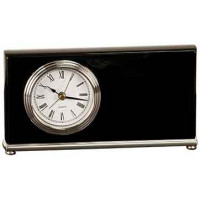 "Black Piano Finish Horizontal Desk Clock (7 1/2"" x 4"")"