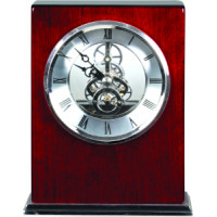 "Rosewood Piano Finish Square Clock (6 1/4"" x 5"")"