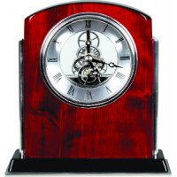 "Rosewood Piano Finish Silver Side Arch Clock (6 1/2"" x 6 1/4"")"