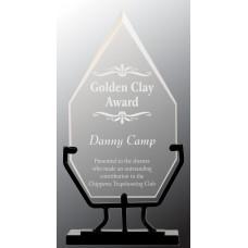 """Diamond Vintage Glass with Iron Base (9 3/4"""")"""