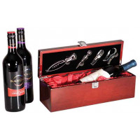 Single Wine Presentation Box in Rosenwood Piano (Red Lining) with Tools