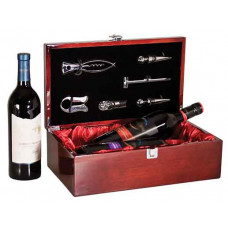 Double Wine Presentation Box in Rosenwood Piano with Tools