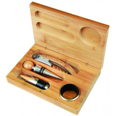 4 Piece Wine Tool Set in Bamboo