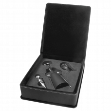 Leatherette Wine Tool Gift Set in Black/Silver (3-Piece)